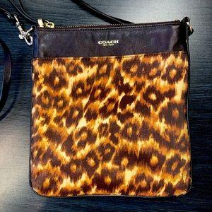 Coach Leather & Canvas Brown Leopard Crossbody Bag